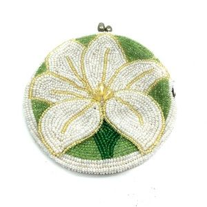 Vintage Casablanca Lily Flower Beaded Purse DELILL